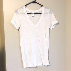 VS PINK V Neck Tee Shirt White